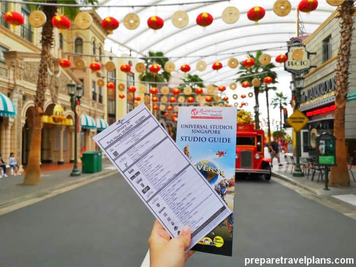 Universal Studios Singapore Guide Map and Programme Sheet