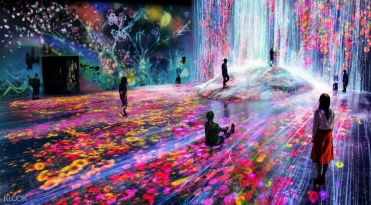 Universe of Water Particles on a Rock where People Gather