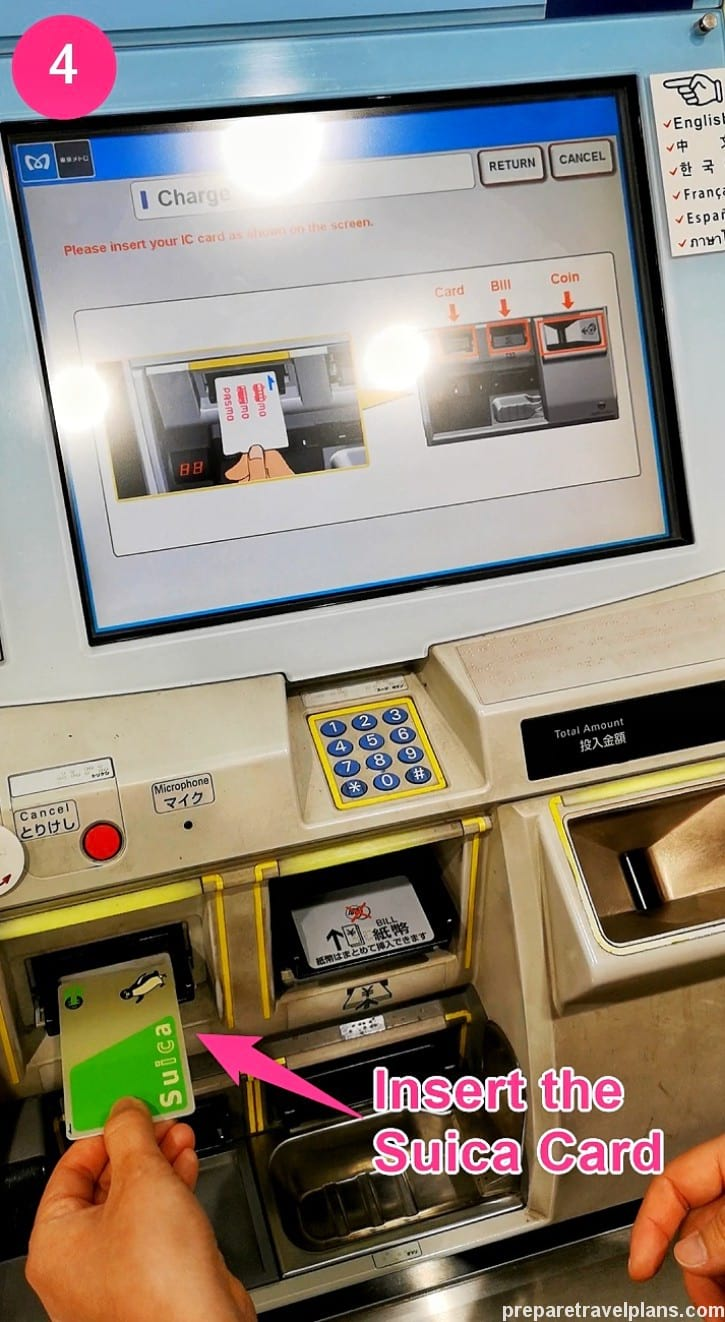 Insert the Suica Card into Ticket Machine in Metro Station