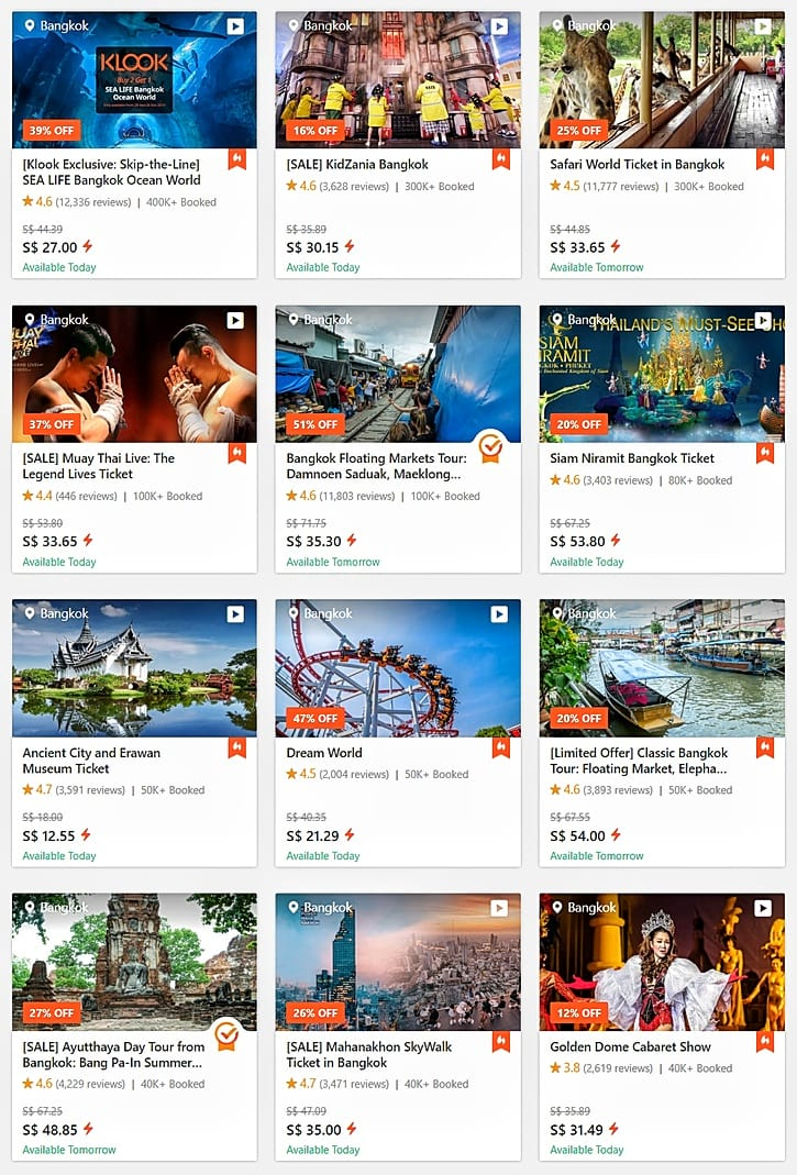 Bangkok Attraction Online Tickets