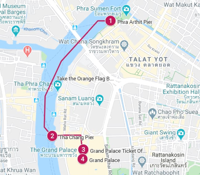 Khao San Road to Grand Palace Bangkok Guide Map