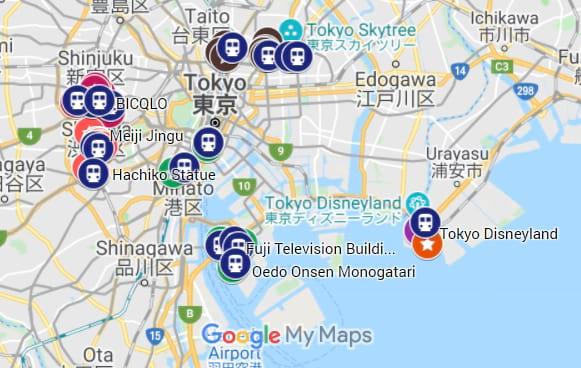 Tokyo Itinerary Map